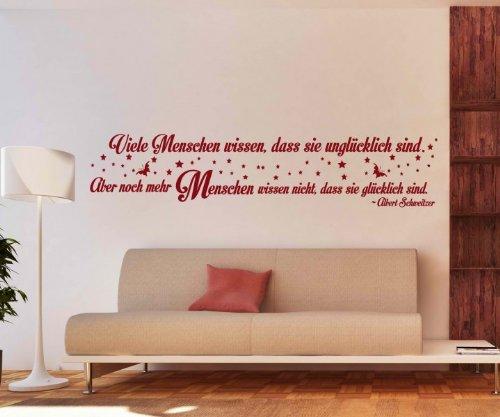 Wandtattoo Spruch glücklich Wandsticker Zitate Weisheit Albert Schweitzer 5D496, Farbe:Weiß Matt;Breite vom Motiv:250cm
