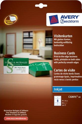 Avery Zweckform C32071-10 Visitenkarten, 85 x 54 mm, unbeschichtet, 260 g/m², glatte Kanten, 80 Stück, weiß