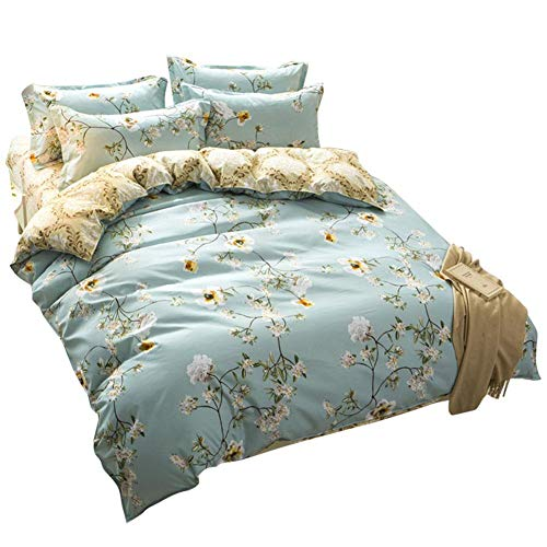 Torey Flowing Years Series Three Piece Hidden Zipper Duvet Cover Set Anti Allergy Duvet Cover with Pillow Case Anti-Static Bedding Set Duvet Cover (Style: UK Double)
