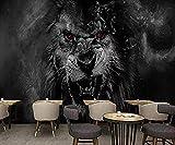 3D Black Lion Lion Wallpaper PVC Gioco Personaggi del film Poster Foto Palestra Yoga Internet café Bar Negozio dell fotomurali poster murale Soggiorno camera letto minimalista tv sfondo-200cm×140cm