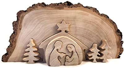 Dolfi Natural Nativity Scene in 13 by 7.5 Inch Hand Carved Birch Wood Collectible Christmas Decoration