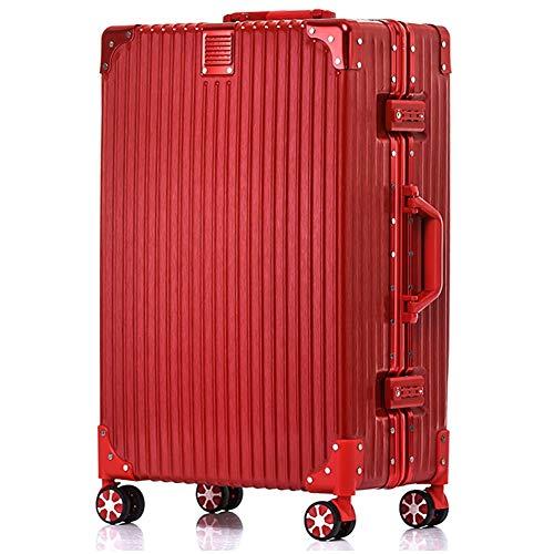 Meters_x Aluminiumrahmen-Trolley, Zeichenbox, Universalrad, Modeschüler-Tasche, Zollverschluss, große Packungsbox (20 Zoll, 24 Zoll, 26 Zoll, 29 Zoll) (Farbe : Rot, größe : 24 inches)