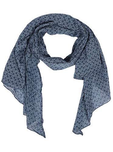 Zwillingsherz Seiden-Tuch Damen stylisches Muster - Made in Italy - Eleganter Sommer-schal für Frauen - Hochwertiges Seidentuch/Seidenschal - Halstuch und Chiffon-Stola Dezent - blau