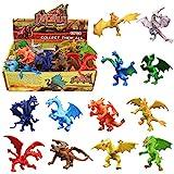 12 piezas Juguetes de Mini Dragón de 4 pulgadas , Conjunto de con Caja de Regalo, Mundo Zoológico...