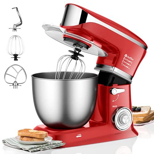 Küchenmaschine Scheffler 2000W Knetmaschine , 6,5L Küchenmaschine XL,Teigmaschine, 6 Geschwindigkeiten, 8 weiteren Zubehörteilen inklusive, Knethaken, Flachrührer, Schneebesen