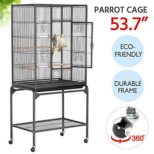 Yaheetech 54-inch Wrought Iron Construction Standing Large Parrot Bird Cage for Small Parrot