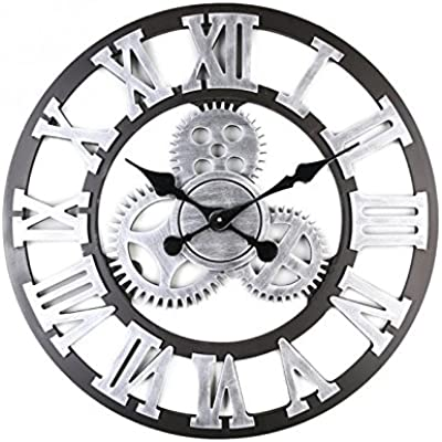 Wall Clock- Europe and The United States Large Retro Creative Living Room Gear Watch Wind