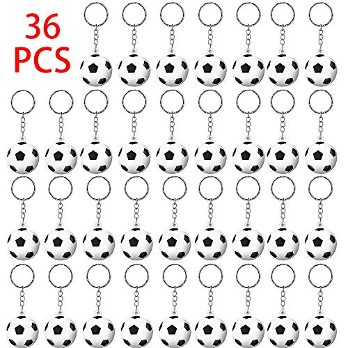 36 Pezzi Portachiavi Pallone Calcio Sportivi Portachiavi di Calcio Accessori Chiave per Regalo Ricompensa di Carnevale Scolastico e Borsa da Party Gadget Compleanno per Bambini