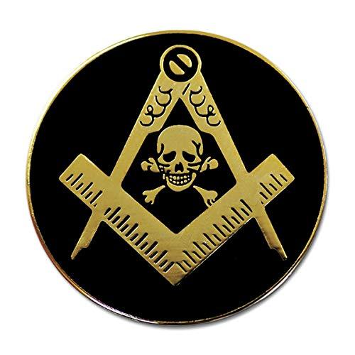 Widow's Son Skull Square & Compass Round Masonic Lapel Pin - [Black & Gold][1'' Diameter]