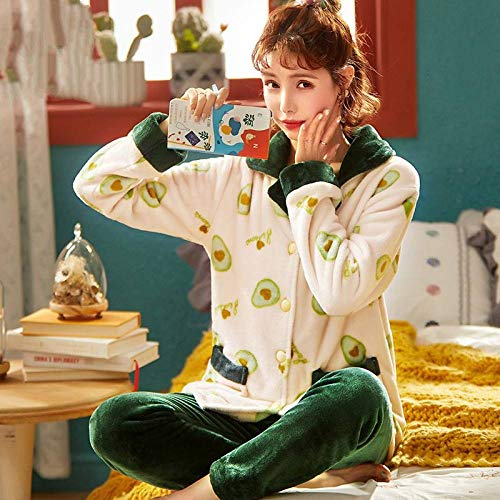 Conjunto De Pijamas Para Mujeres,Aguacate De Invierno Verde Pijama Set Espesa Caliente Suave Franela Ropa De Dormir Para Las Mujeres Botones De Manga Larga Más Tamaño De Pijama Suelto Ropa De Hogar