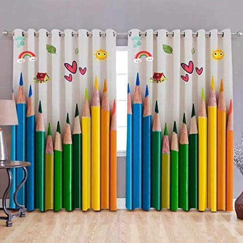 Buy SB INDIA Polyester Knitting 3D Digital Printed Colorful Pencil Print  Curtains (Multicolor, 4 x 7 Feet) Online at Low Prices in India - Amazon.in