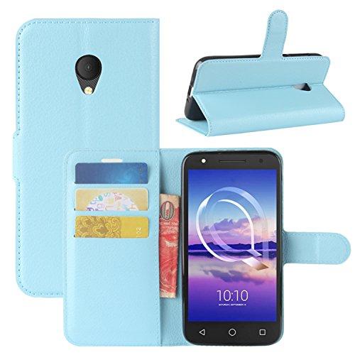 HualuBro Alcatel U5 HD Hülle, Leder Brieftasche Etui Tasche Schutzhülle HandyHülle [Standfunktion] Leather Wallet Flip Hülle Cover für Alcatel U5 HD (Blau)