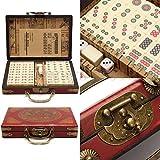 SL Portable Retro Mahjong Box Rare Chinese 144 Mah-Jong Set Bamboo Piece with Box