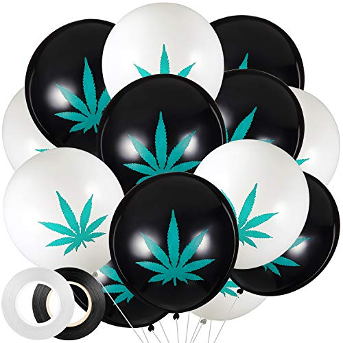 42 Pieces Marijuana Themed Balloon Set Include 20 Pieces White Pot Leaf Pattern Balloons and 20 Pieces Black Pot Leaf Pattern Balloons with White Ribbon and Black Ribbon for Marijuana Birthday Party