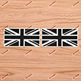 UK British Flag Union Jack Britain Vinyl Decal Sticker - 2 Pack Glossy, 4 Inches - Black White for Car Laptop Window