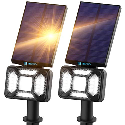 TBI Pro 27 LEDs Outdoor Solar Landscape Spotlights PRO IP65 Waterproof Wireless Solar Powered Landscaping Wall Light for Yard Garden Driveway Porch Pool Walkway Patio Cold White Adjustable 2 Pack