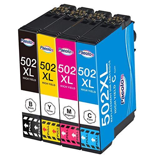 Paeolos 502XL Reemplazo para Epson 502 502 XL Cartuchos de Tinta Compatible con Epson Workforce WF-2860 WF-2860DWF WF-2865 WF-2865DWF, Expression Home XP-5100 XP5100 XP-5105 XP5105