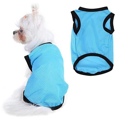 Ångtvätt husdjur solid färg rund kallkläder hund mesh andningsaktiv väst (M-blå)