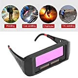 1 Pair Solar Auto Darkening Welding Goggle, Safety Protective Shade Autodarking Welding Glasses Lens, Eyes Glasses TIG MIG Anti-Flog Anti-glare Goggles Welder, Black