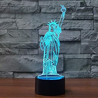 YKL WORLD 3D Illusion Lamp Statue of Liberty LED Night Light Touch Control 7 Colors Changing Table Lamp Bedroom Bedside Decor Lighting Christmas Birthdays Gifts for Boys Girls Toys