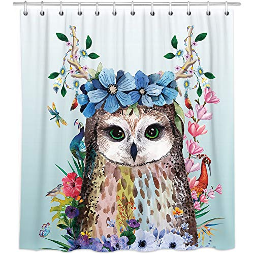 Bonsai Tree Art Animal Bird Fabric Shower Curtain,Waterproof Polyester Owl Purple Floral Turquoise Bath Curtain with Hooks,72'x72'