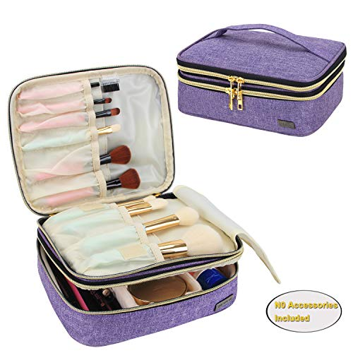 Teamoy Travel Makeup Brushes Case, Professional Makeup Train Organizer Bag with Handle for Makeup Brushes and Beauty Essentials- Purple(up to 8.8' Brushes)