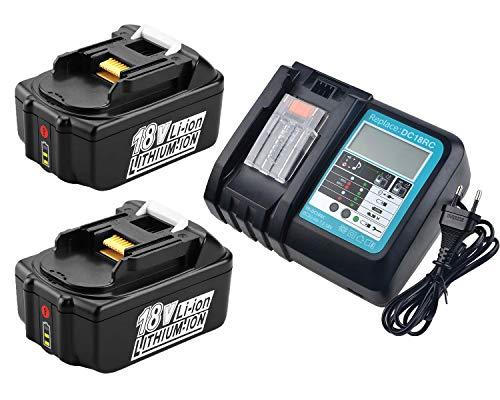 Lot de 2 batteries 18V 5,0Ah BL1850 Batterie de rechange pour Makita BL1850B 18 V LXT 5 Ah, avec chargeur DC18RA DC18RC