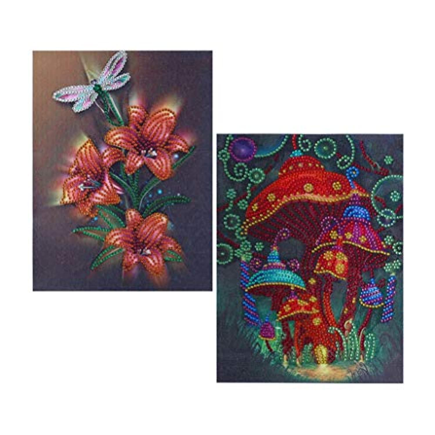 5D Diamond Painting Kits, DIY Diamond Cross Stitch by Numbers, Crystal Rhinestone Embroidery Paintings Pictures Arts Craft for Home Wall Décor by UmbWorld, 2 Pack 10''x 12'' (Flower Set 1)
