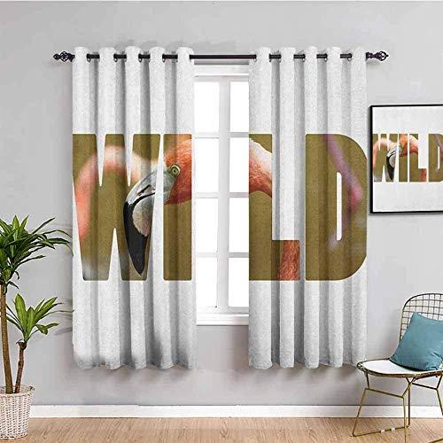 Azbza Cortinas Opacas Salón - Flamingo animal minimalista letras - 90% Opacas Proteccion Intimidad - W240 x H240 cm - Salón Dormitorio Cortina Gruesa y Suave para Oficina Moderna Decorativa Cortinas