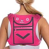 Pink Running Mini Backpack Vest for Men & Women - Reflective w/360°Hi-Viz, Holds Accessories and...