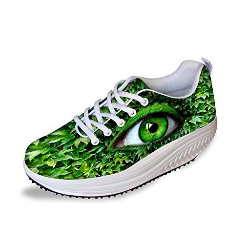 FOR U DESIGNS Green Eye Pattern Lightweight Lace Up Platform Sneaker Women Swing Shoes US 6