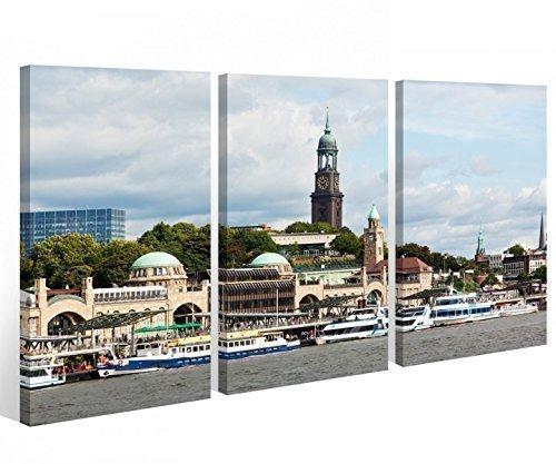 Leinwand 3 tlg. Hamburg Skyline Stadt Hafen Bilder Wandbild aufgespannt 9A479 Holz-fertig gerahmt -direkt Hersteller, 3 tlg BxH:120x80cm (3Stk 40x 80cm)