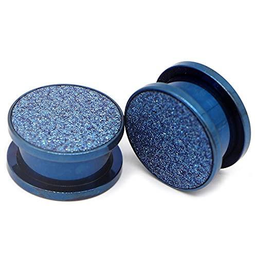 1 par de acero inoxidable Sand Sand Blast Tornillo de arena con enchufes para orejas EXPANZANDO EXPANZANDO EXPANGANTE TERRABE TIPER SERVICIDAD EAR Piercing Ear Tunnel Plug-Azul_10mm.
