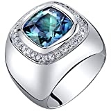 Mens 7 Carats Simulated Alexandrite Ring Sterling Silver Cushion Cut Size 9
