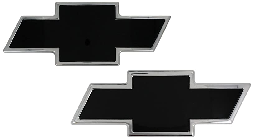 AMI 96100KP Chevy Bowtie Grille & Tailgate Emblem - Polished/Black Powder coat, 2 Pack