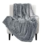 Bedsure Soft Fuzzy Faux Fur Sherpa Fleece King Size Throw Blanket Grey- Warm Thick Fluffy Plush Cozy Reversible Shaggy Blanket for Sofa and Bed -Comfy Furry Blanket, Solid Gray, 108x90 inches