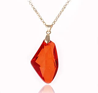 Harry Potter the Sorcerer's Red Crystal Magic Philosophers Stone Necklace Pendant Chain Necklace Women Perola