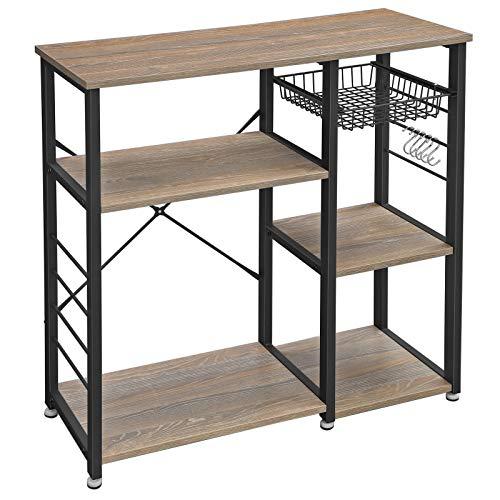 VASAGLE Küchenregal aus Metall, stabiles Standregal, platzsparendes Mikrowellenregal mit Stahlgestell und Drahtkorb, mit 6 Haken, Industrie-Design, Holzoptik, sandbraun-schwarz KKS90BH