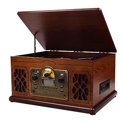 Angelay-Tian Gramófono Tocadiscos Retro Tocadiscos Reproductor de Discos de Vinilo Reproductor de CD/Radio/USB / MP3 / Bluetooth Fonógrafo de Madera Vintage para Oficina/decoración del hogar
