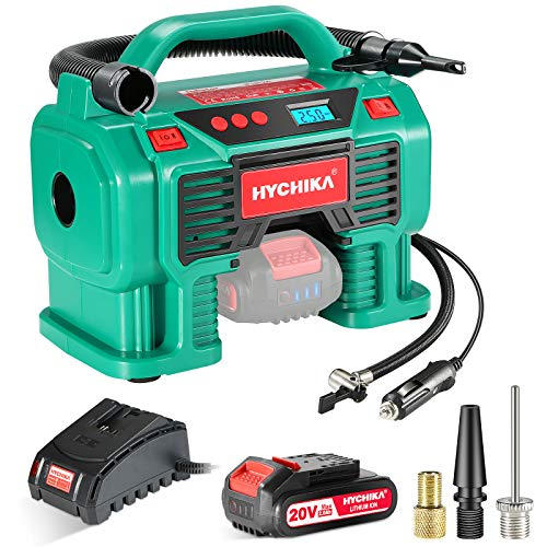 Tire Inflator Air Compressor, HYCHIKA 12V DC/20V Battery Dual Power Supply Portable Tire Inflator for Car, 160PSI Digital Inflator with Pressure Gauge, LED Light for Tires Balls and Other Inflatables