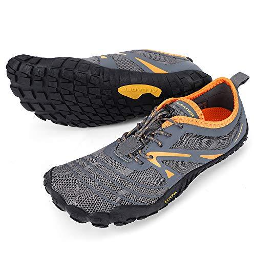 ALEADER Minimalist Shoes for Men Barefoot Cross Training Shoes Five Fingers Dark Gray/Orange 12-12.5 M US Men