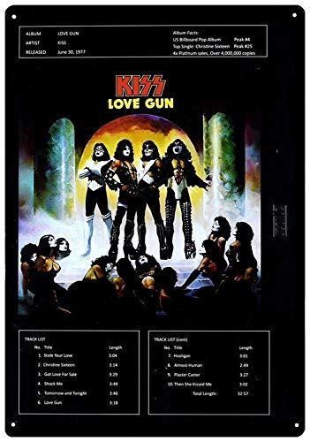 CDecor Kiss&Uml; Love Gun Blechschilder, Metall Poster, Retro Warnschild Schilder Blech Blechschild Malerei Wanddekoration Bar Geschäft Cafe Garage