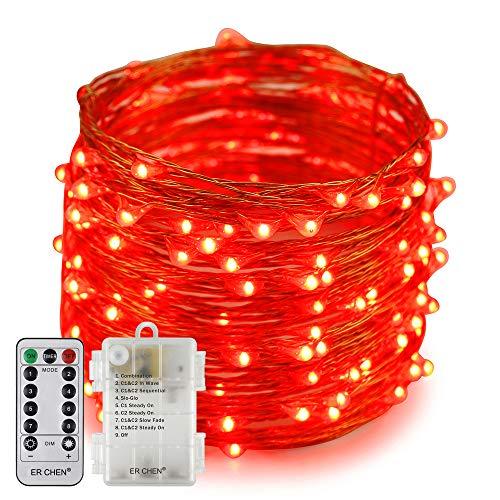 Erchen Batteriebetrieben LED Lichterkette, 66 FT 200 LED 20M dimmbare Kupfer Draht Lichterketten mit Fernbedienung 8 Modi Timer für Innen Außen Weihnachten Party (Rot)
