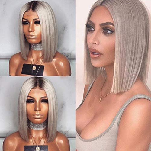 """20"""" Grey Perruque Courte Vrai Cheveux Humain Ombre Hair Wig Bob Wig Gris Middle Part Top Qualité Lace Bleached Knots avec Délié Naturel Pas Cher,Darkg"""