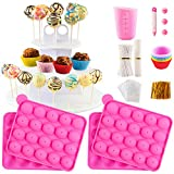 Cake Pop Maker Set with Pink Silicone Molds with 3 Tier Cake Stand, Chocolate Candy Melts ...