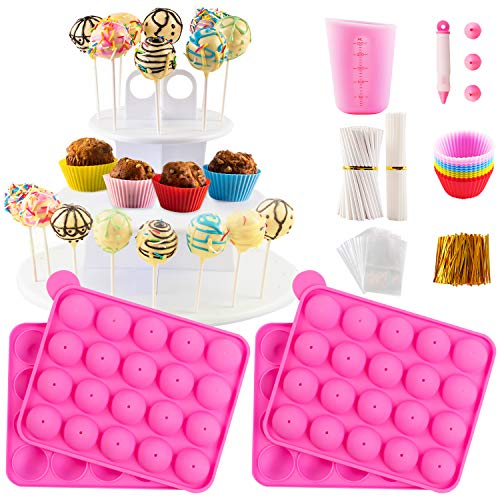 Cake Pop Maker Set with Silicone Molds with 3 Tier Cake Stand, Chocolate Candy Melts Pot, Paper Lollipop Sticks, Silicone Cupcake Molds, Decorating Pen with 4 Piping Tips, Bag and Twist Ties