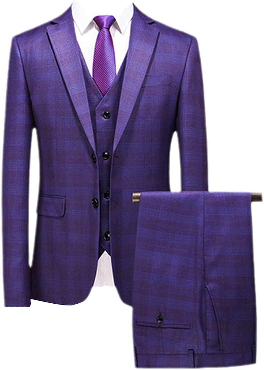 Jacket+Vest+Pants Fashion Boutique Plaid Casual Business Men's Suit Groom Wedding Dress Show Tuxedo