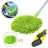GES 2 in 1 Chenille Microfiber Car Wash Mop Mitt,Brush for Car Wash with 45' Long Handle,Microfiber Wash Mitt Car wash Brush Scratch Washing Supplies 180 Degree Rotation for Cleaning RV Cars and Bus