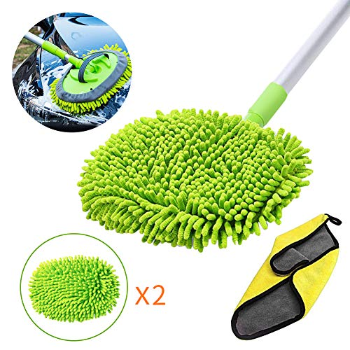 GES 2 in 1 Car Wash Mop Mitt with Long Handle, Chenille Microfiber Car Wash Brush Extension Pole 24-46In, Scratch Cleaning Tool for Car, Truck, RV, Total 2Pcs Mop Head and 1Pcs Car Cleaning Towels