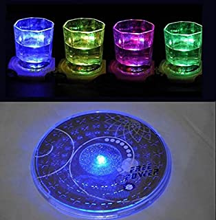 Colorful Changing LED Light Drink Glass Bottle Cup Coaster Mat